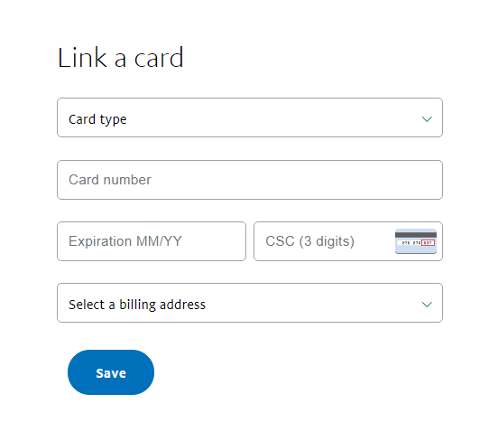 PayPal link a bank card