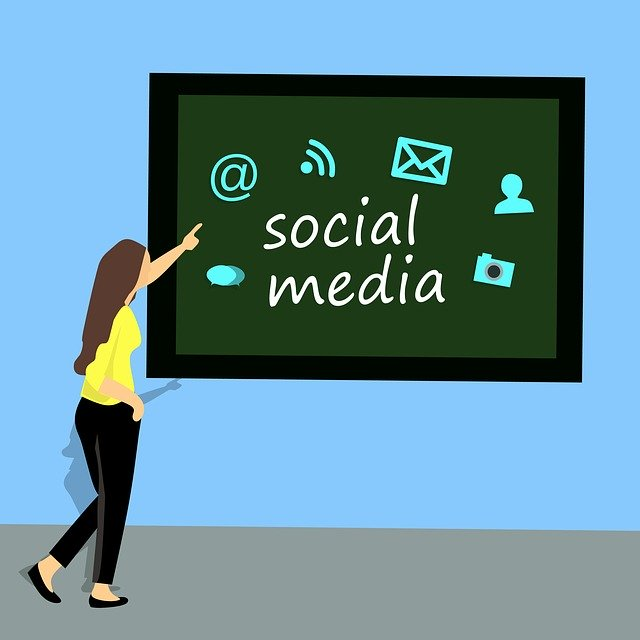 social-media icons on a black board